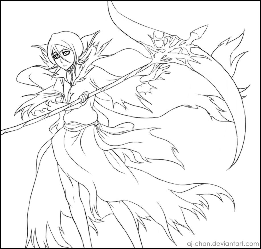 FTB Rukia - lineart by aj-chan