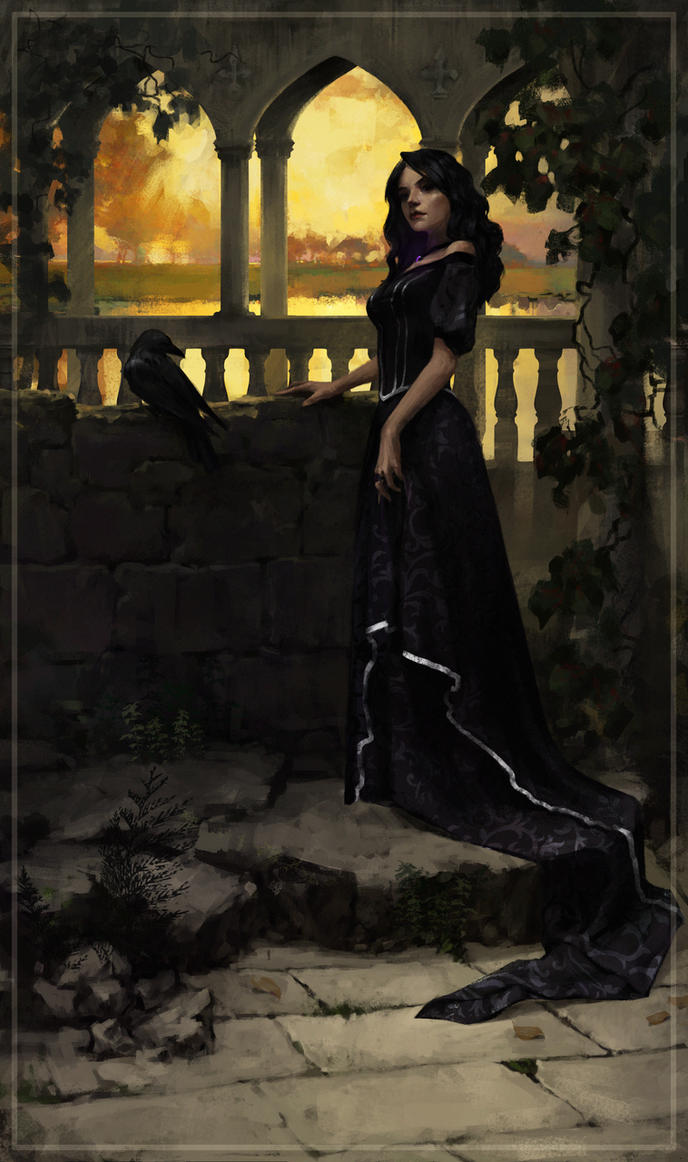 Yennefer in the  Temple of Melitele in Ellander by YaikovaVarvara