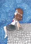 Girl sitting on a rock by MissRoxanne123