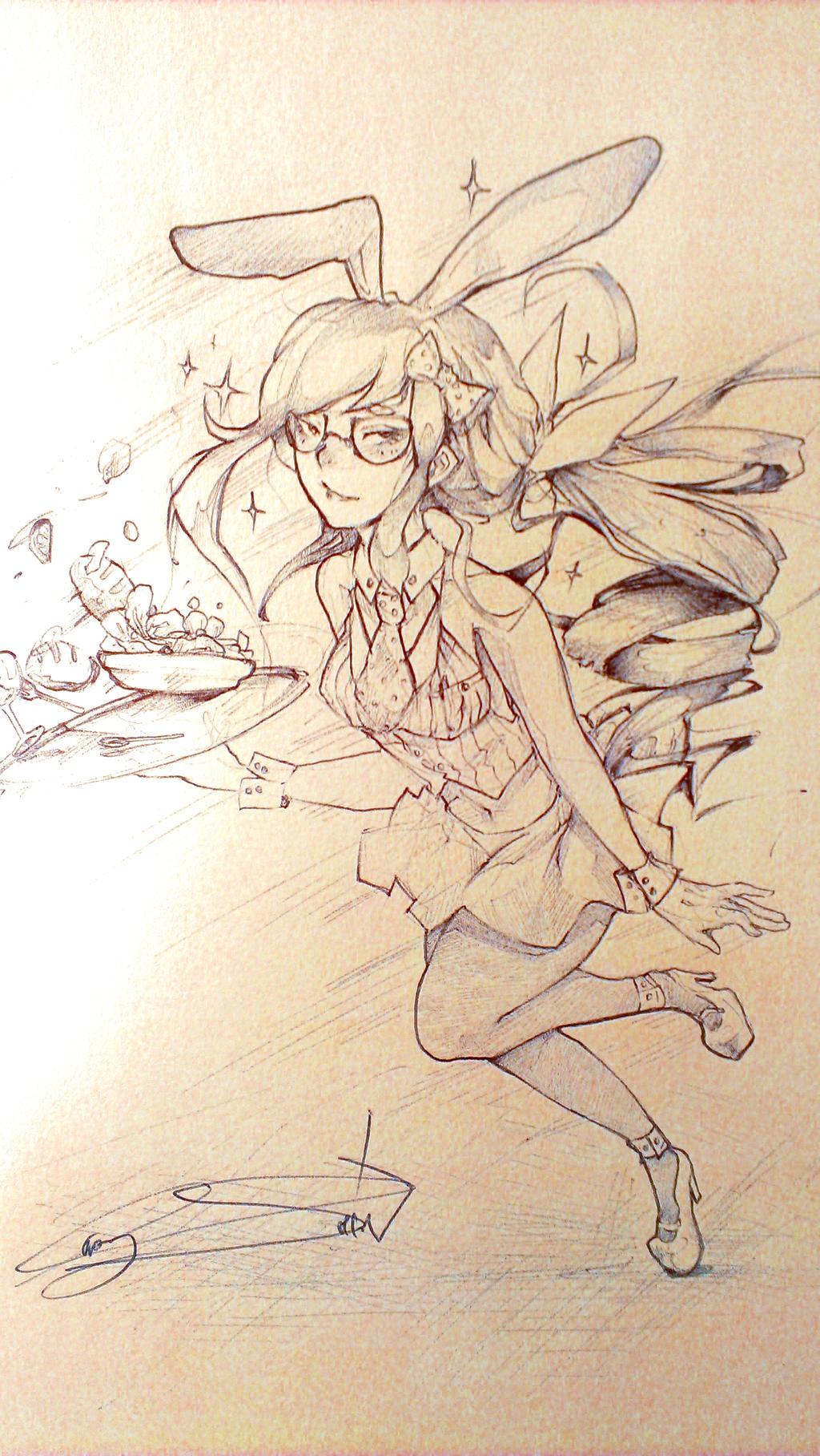 Bunny Waitress by Erecshin