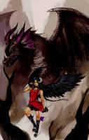 ART TRADE: Ebony Dragon by genki-de