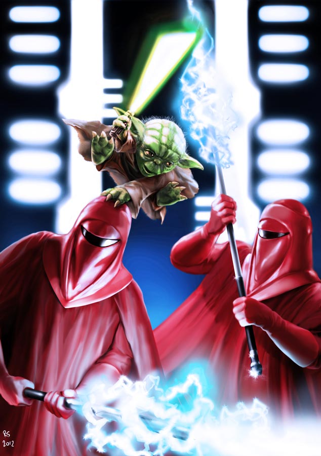 Yoda vs Imperial Guards by Robert-Shane