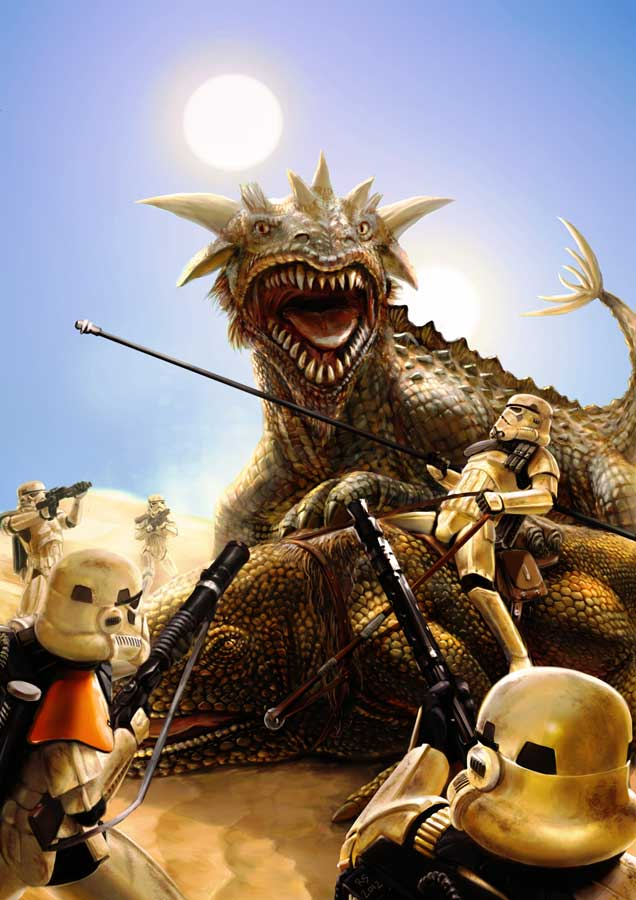 Krayt Dragon vs Dewback Patrol by Robert-Shane