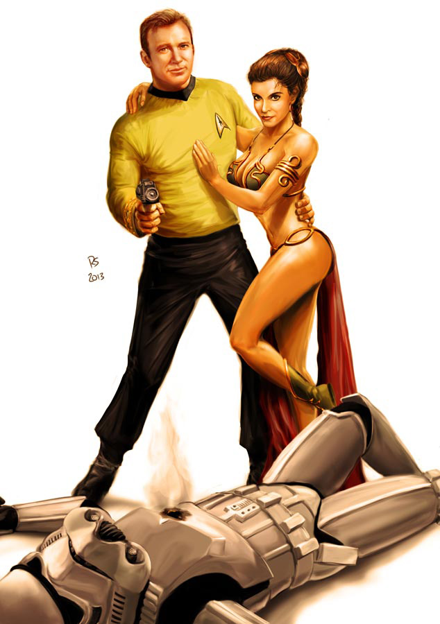 Star Wars meets Star Trek - Kirk and Leia by rhymesyndicate