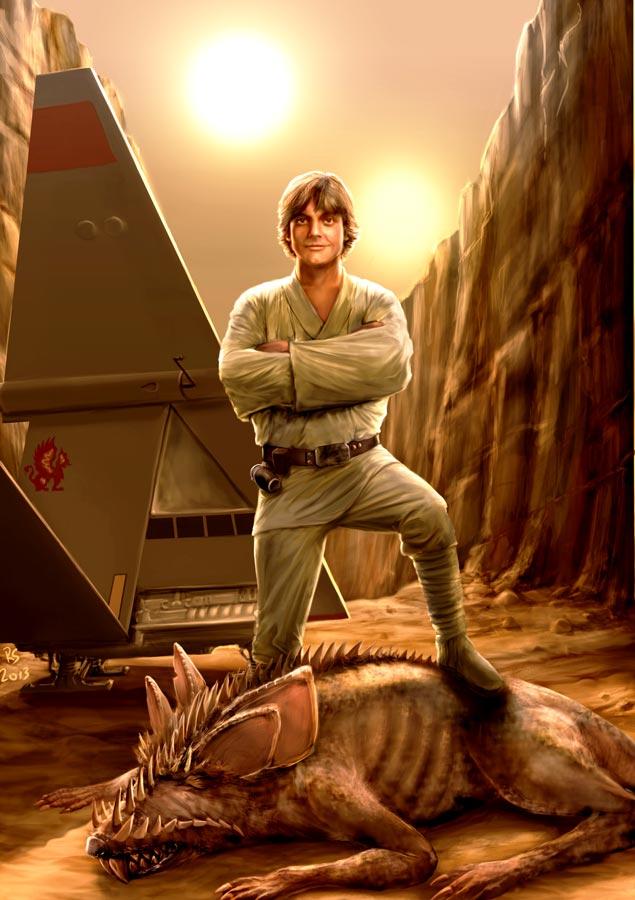Luke Skywalker bullseyes another womp rat by Robert-Shane