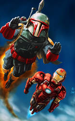 Boba Fett and Iron Man Flying High by Robert-Shane