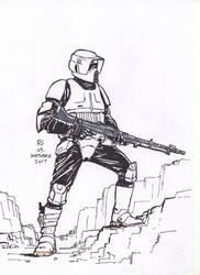 #Inktober pen sketch - Scout Trooper by Robert-Shane