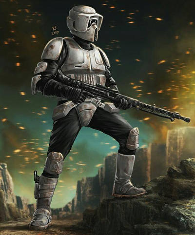Scout Trooper Battle Art