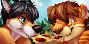 Pizza Couple Icons