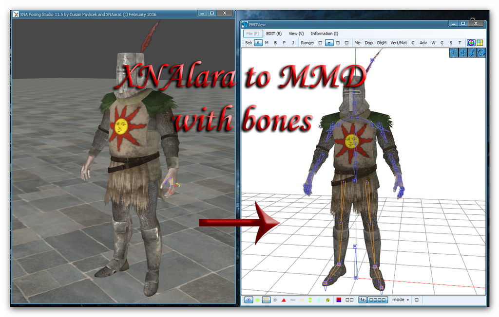 Converting XPS to MMD with bones