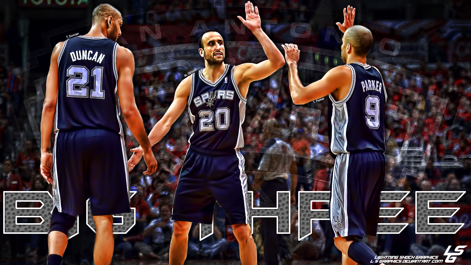 San Antonio Spurs Big Three Desktop Wallpaper By L S Graphics On
