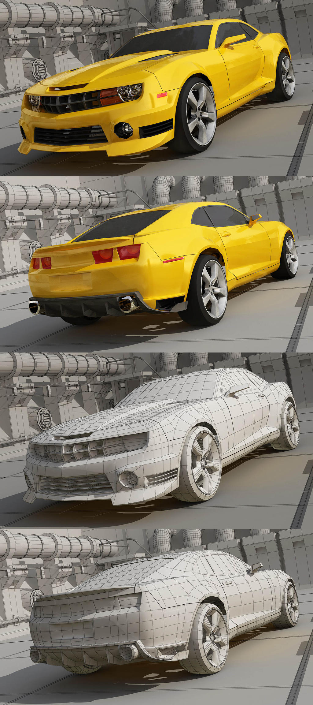 Chevrolet Camaro low poly by stefanmarius