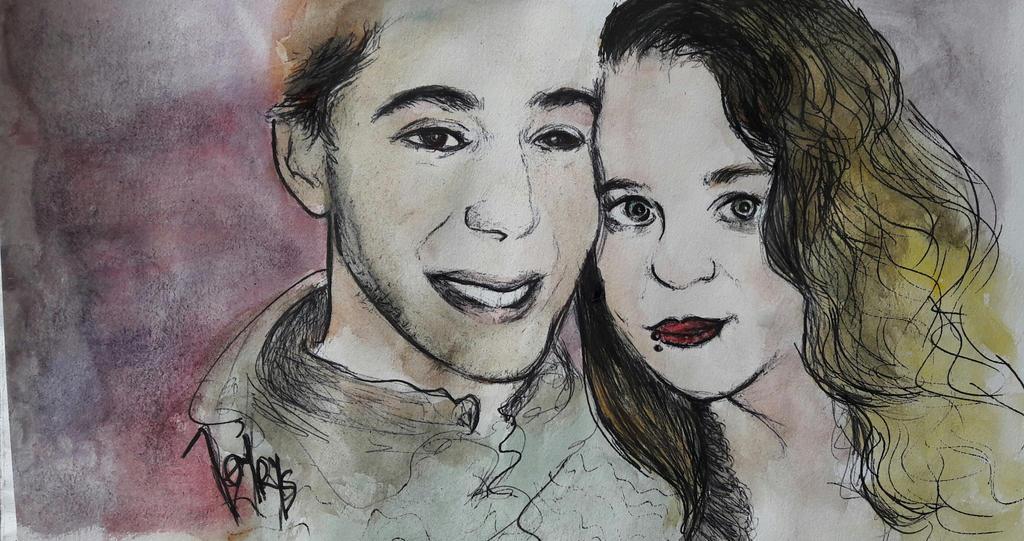 Couple in watercolor by Jennyrys
