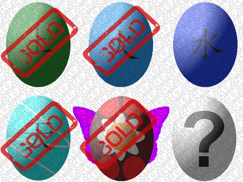 First Batch of 6 adoptable eggs (2/6 open) by JOBNED1