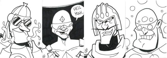 Bat Villains sketch cards