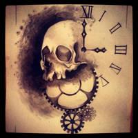 skull and clock by MaryXII