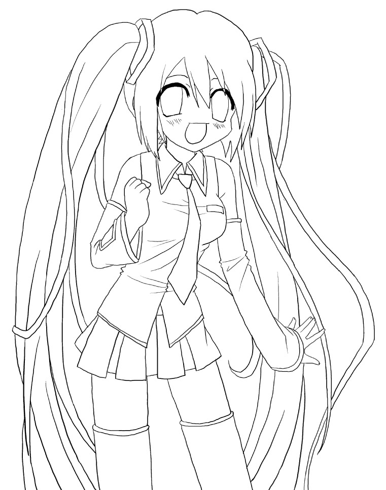 yandere simulator coloring pages - hatsune miku lineart by gamu chan on deviantart
