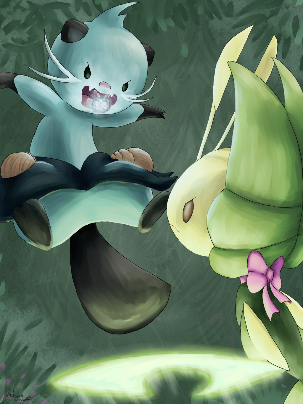 Battle in the Pinwheel forest by Leptocyon