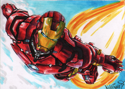 Iron Man Flying Sketch Cards by Kokkinakis-Achilleas