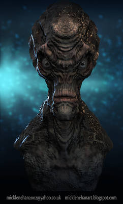 Alien Bust 3D Portrait 2 Timelapse video included