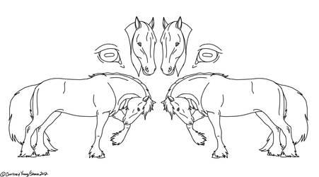 Horse Ref Sheet - Line Art