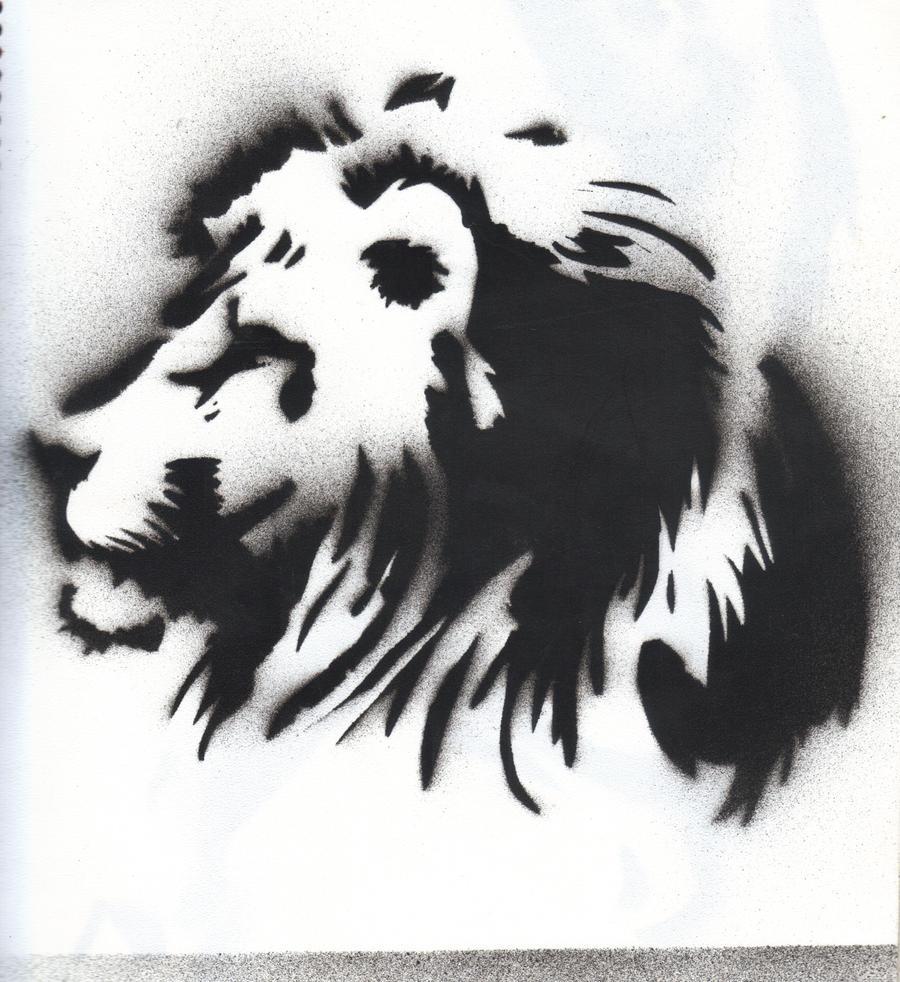 Rasta lion head stencil - photo#1