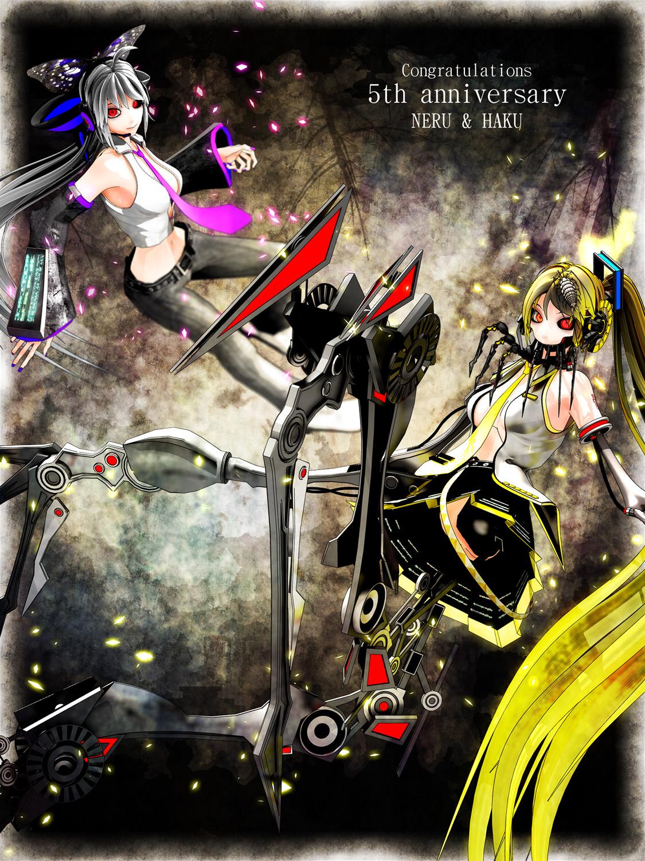 Neru and Haku 5th anniversary by Deino3330