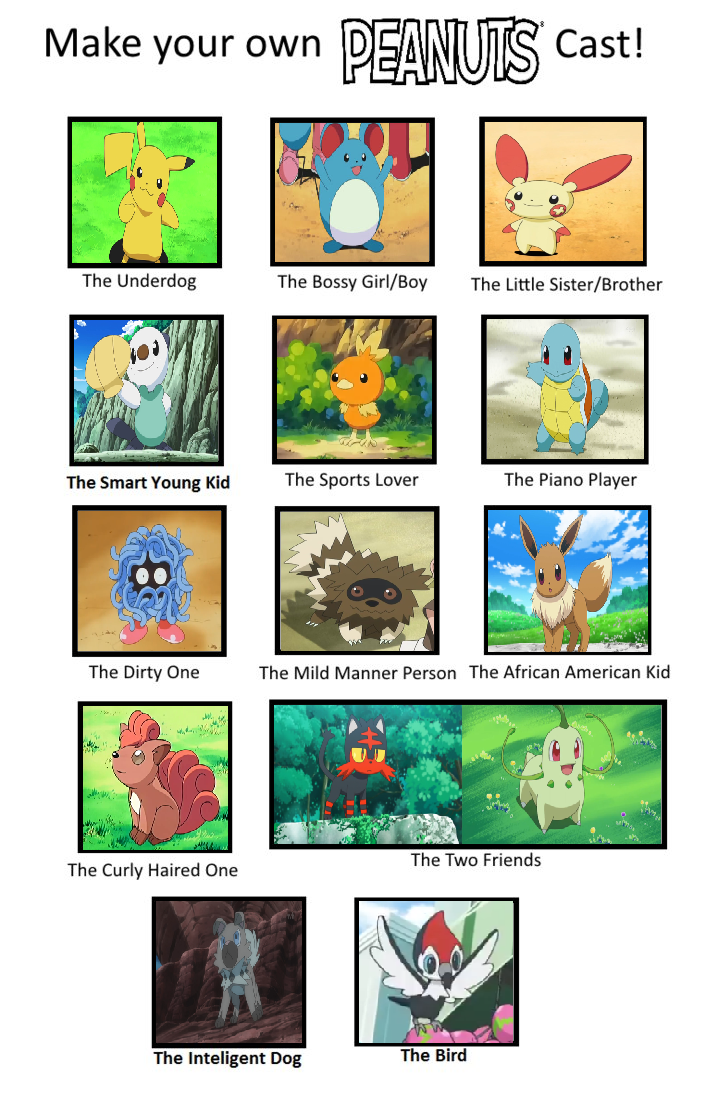 Pokemon Peanuts Cast By Deecat98 On Deviantart