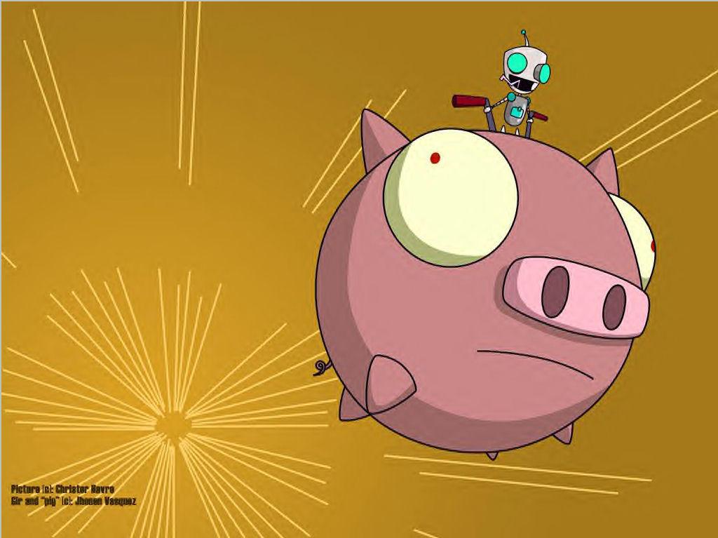 Gir Rides The Pig Wallpaper By Jhonen Club