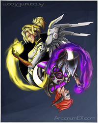 Light and dark - Mercy and Moira  by arcanumex