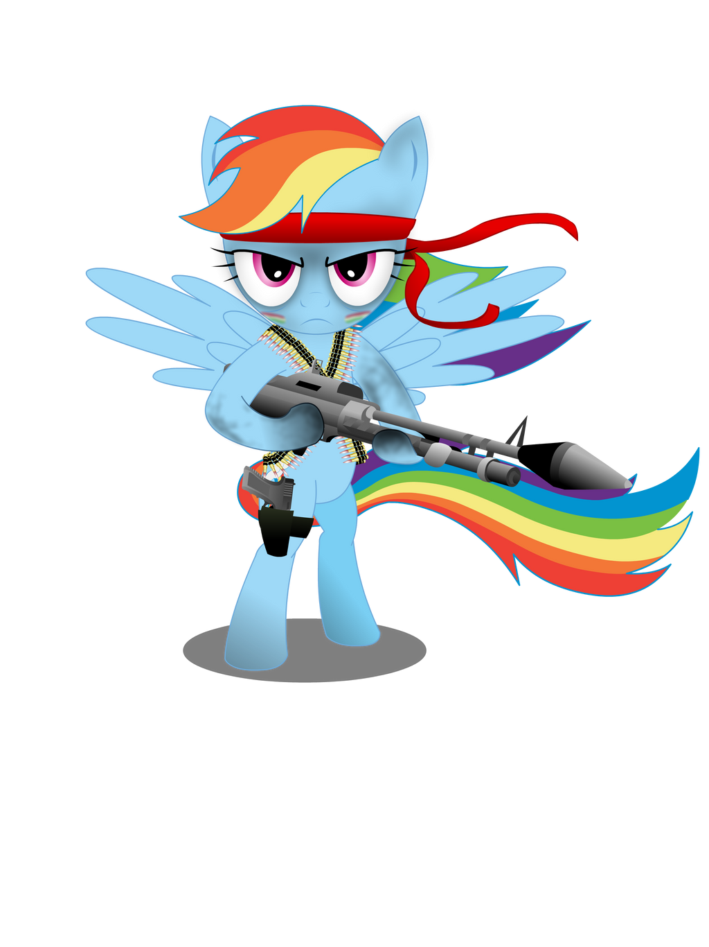 Gunner Rainbow Dash (Shirt design) by GoneIn10Seconds