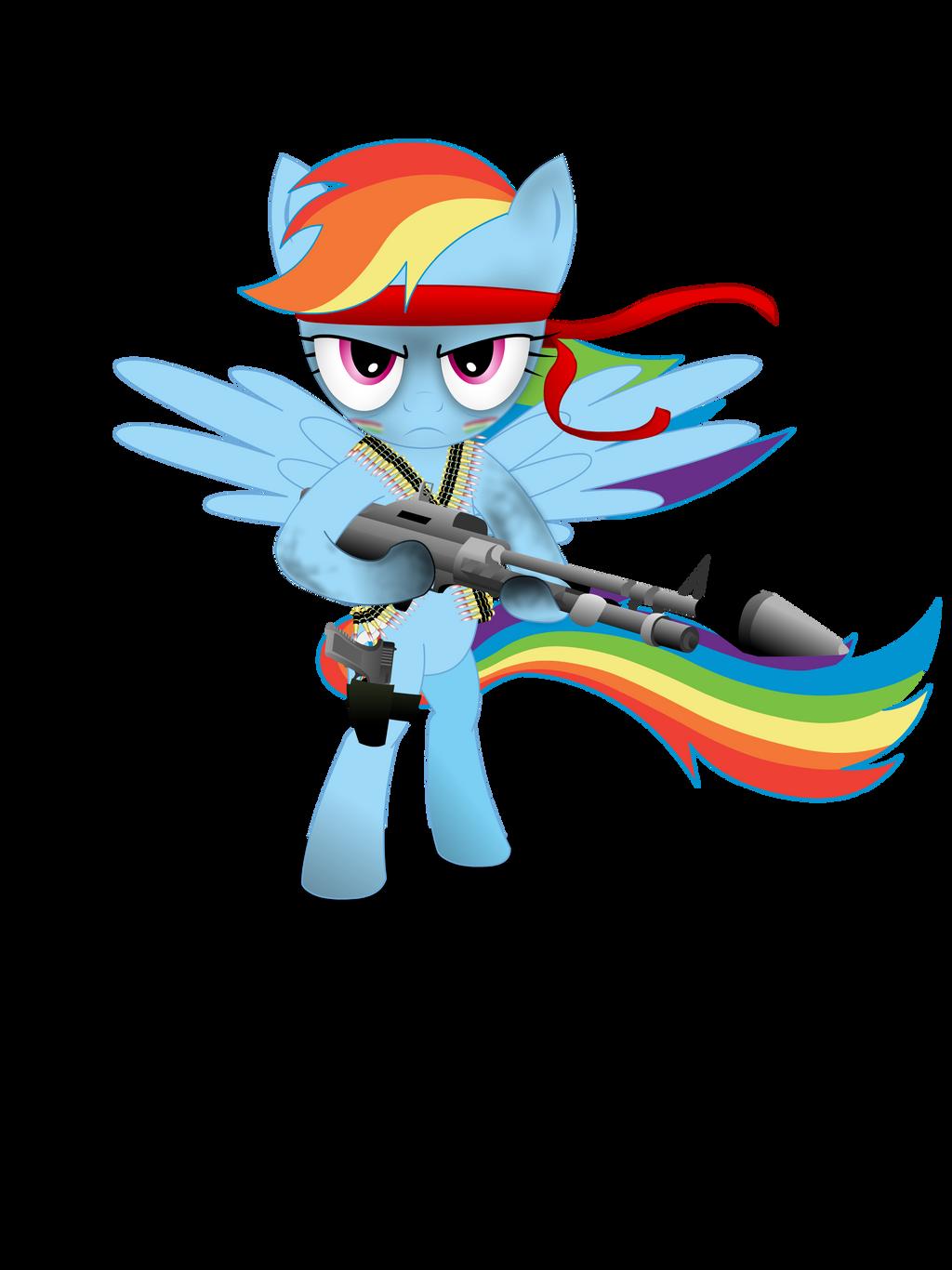 Gunner Rainbow Dash (Shirt design) by GoneIn10Seconds