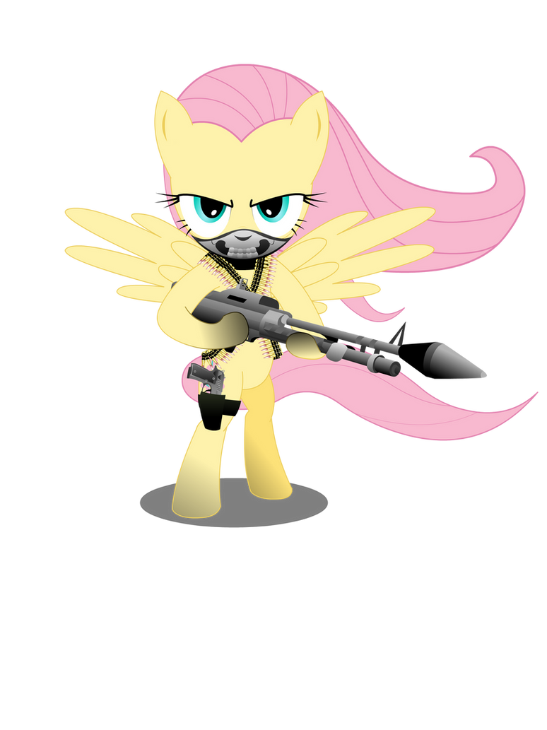 Gunner Fluttershy (Shirt design) by GoneIn10Seconds