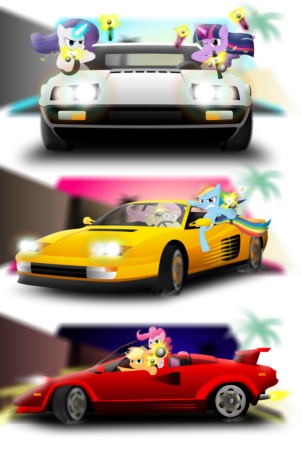 Ponies, cars, and pop-up headlights by GoneIn10Seconds