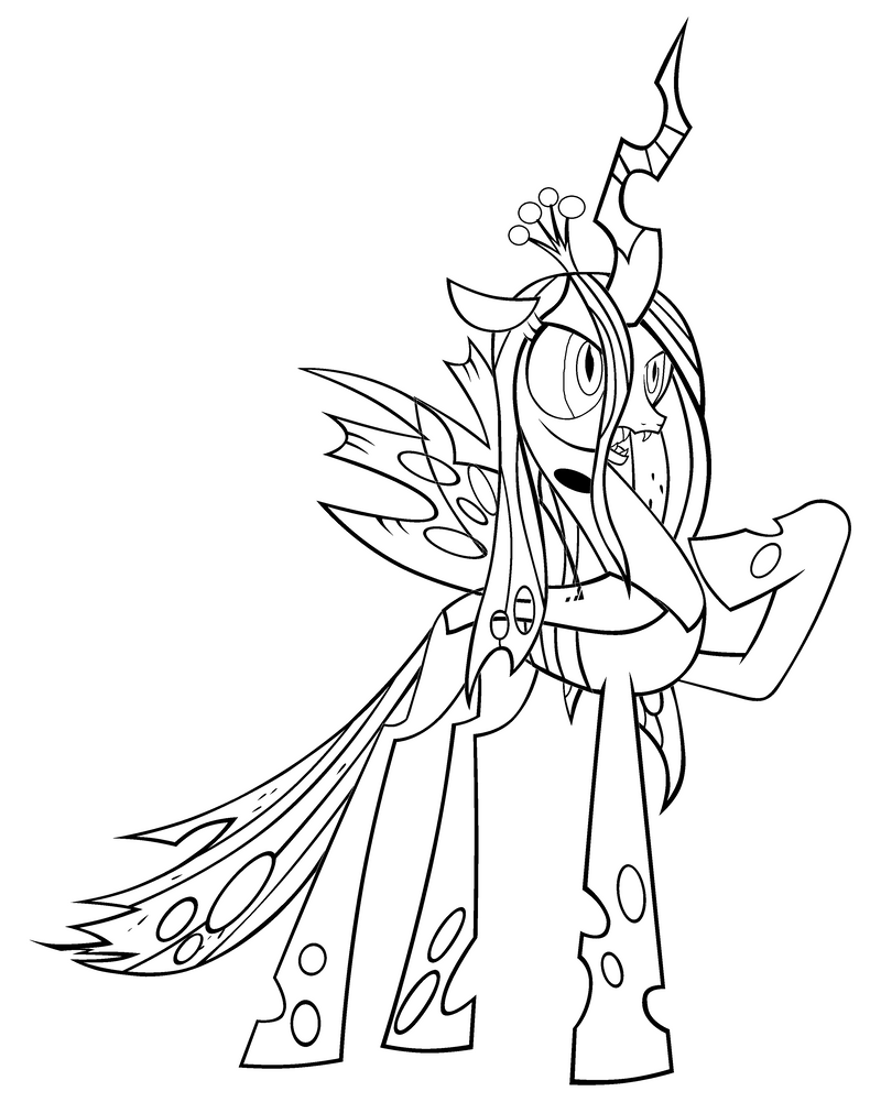Queen chrysalis base by bubbleberry25 on deviantart for Queen chrysalis coloring pages