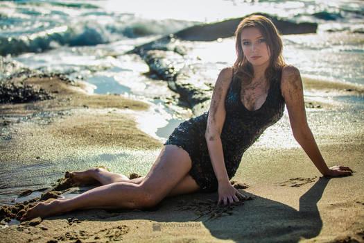 Khrystyna Black dress on the beach