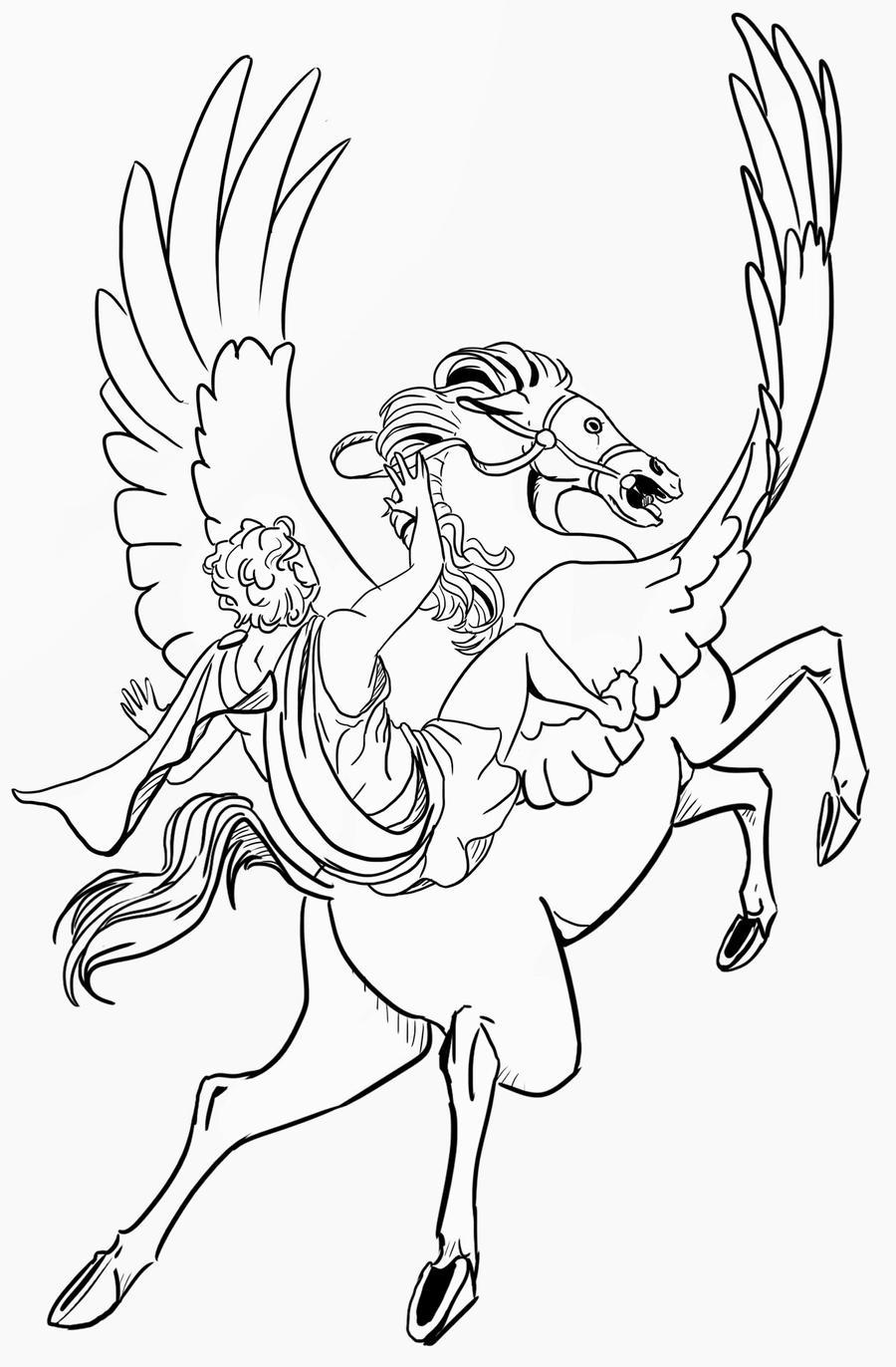 Bellerophon pegasus lineart by siaorie on DeviantArt
