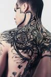 Custom painted Tattoo design. Body art.