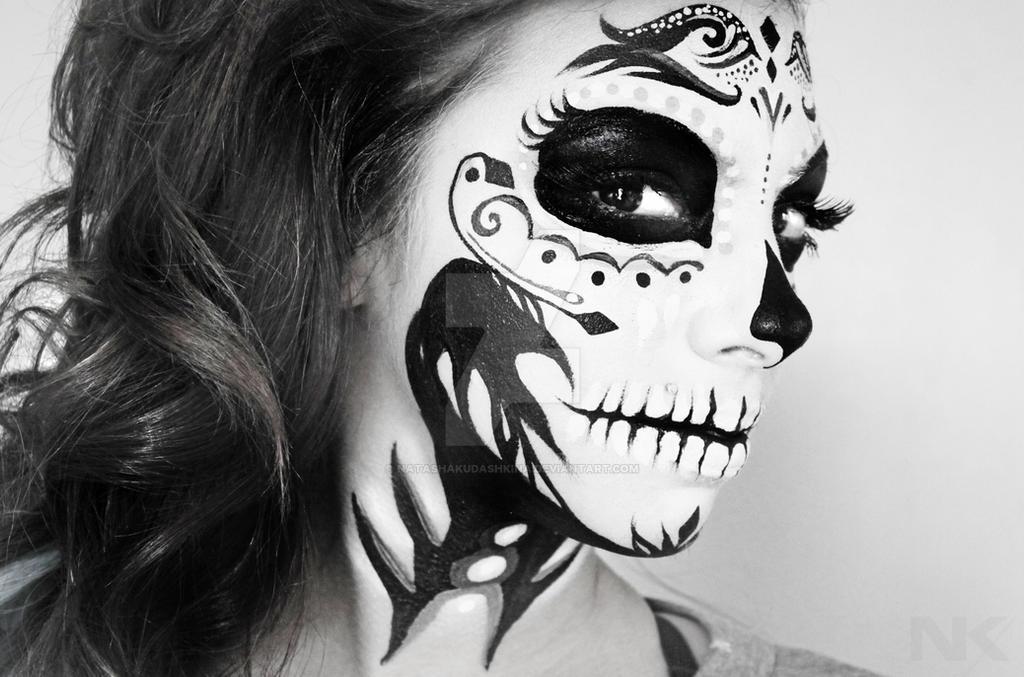 Skull Makeup face paint by NatashaKudashkina on DeviantArt Sugar Skulls Face Paint Black And White