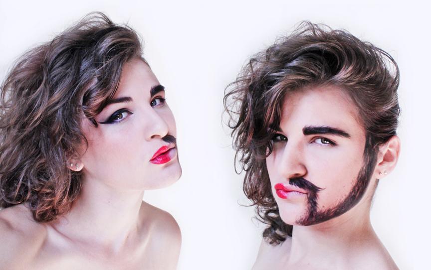 Half Woman Half Man makeup tutorial by NatashaKudashkina