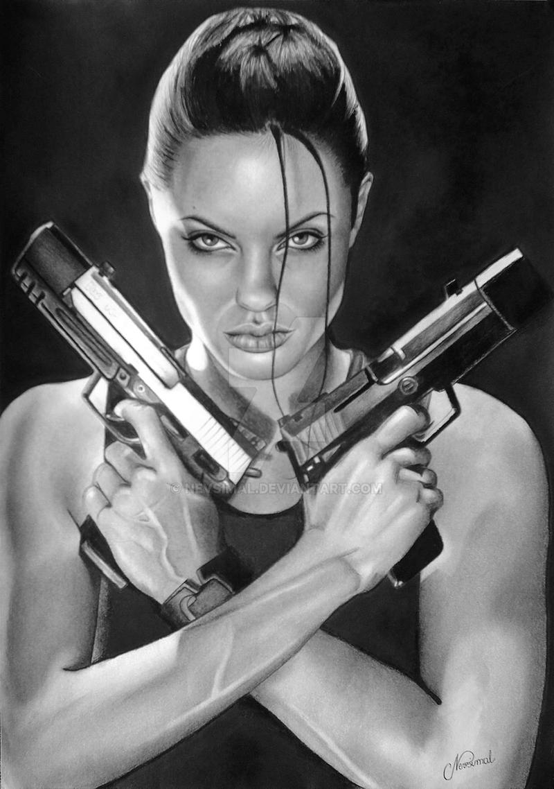 Jolie- Lara Croft GUNS by NEVSIMAL