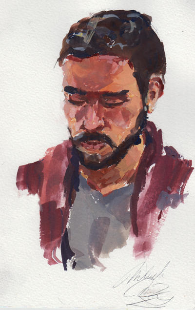 Portrait of a friend in Gouache by eeliskyttanen