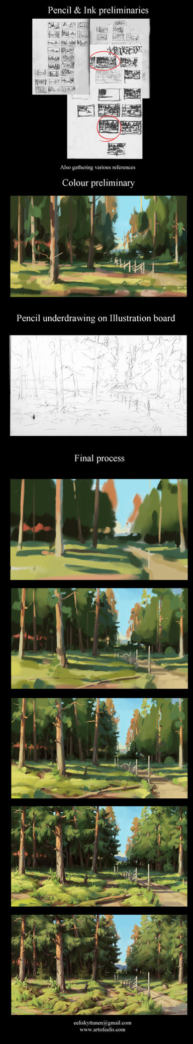 End of the Road ~ painting process tutorial by eeliskyttanen
