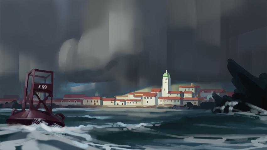 City in a storm sketch by eeliskyttanen