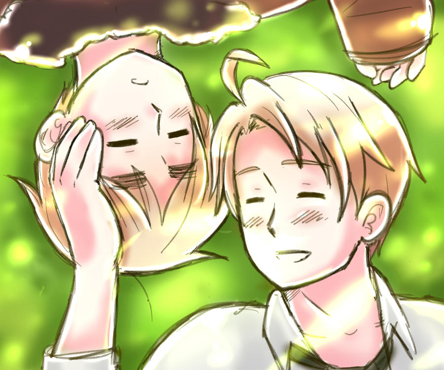 Hetalia:usuk:Relaxing under some tree by NessieMcCormick