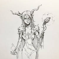 Witch Pen Drawing