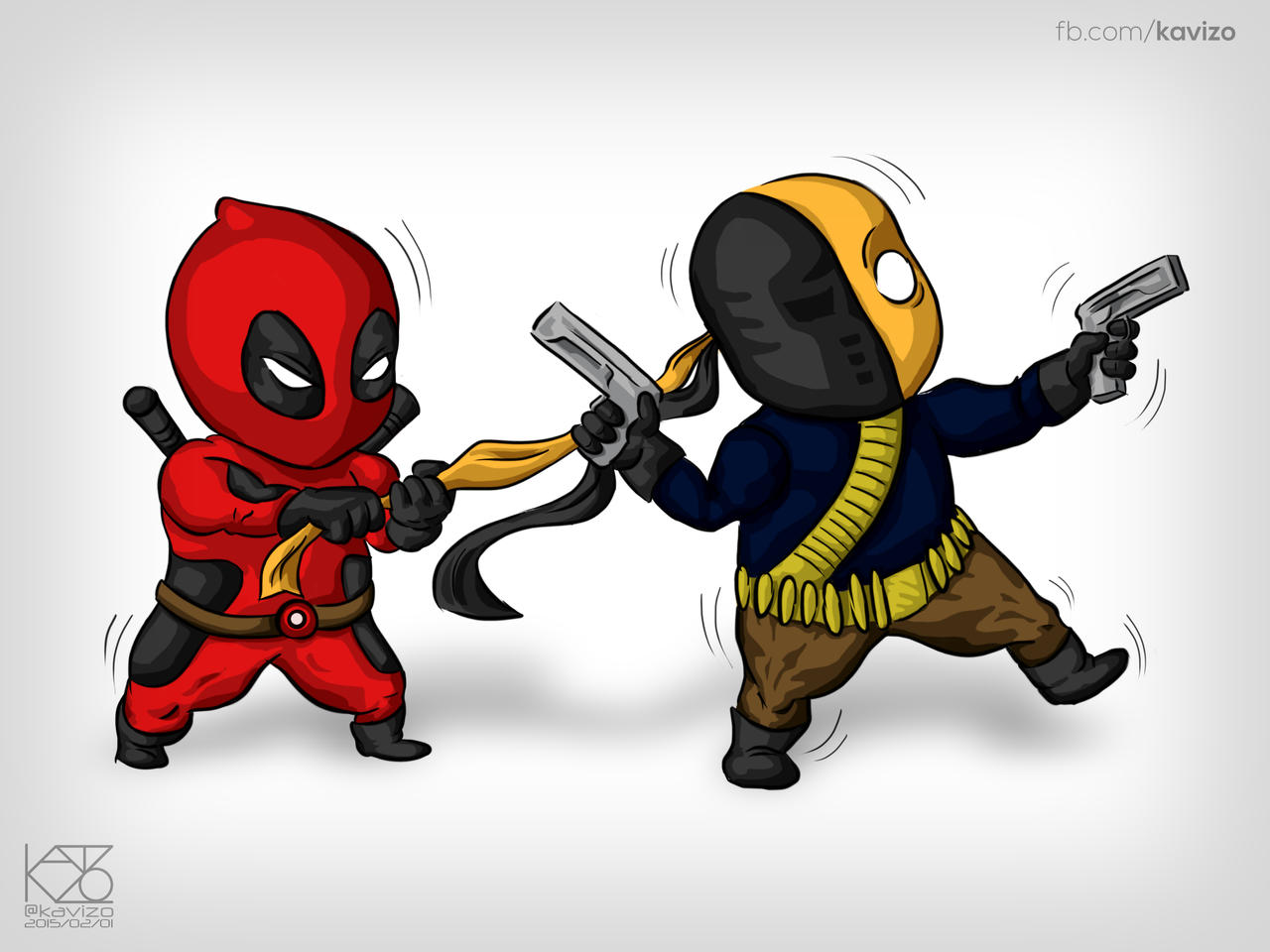 Chibi Deadpool And Deathstroke By Kavizo By KAVIZO On DeviantArt
