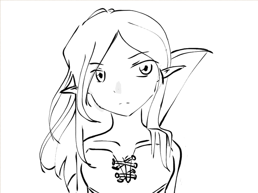 Drawing Lines In Dreamweaver : Elf girl lineart by gem on deviantart