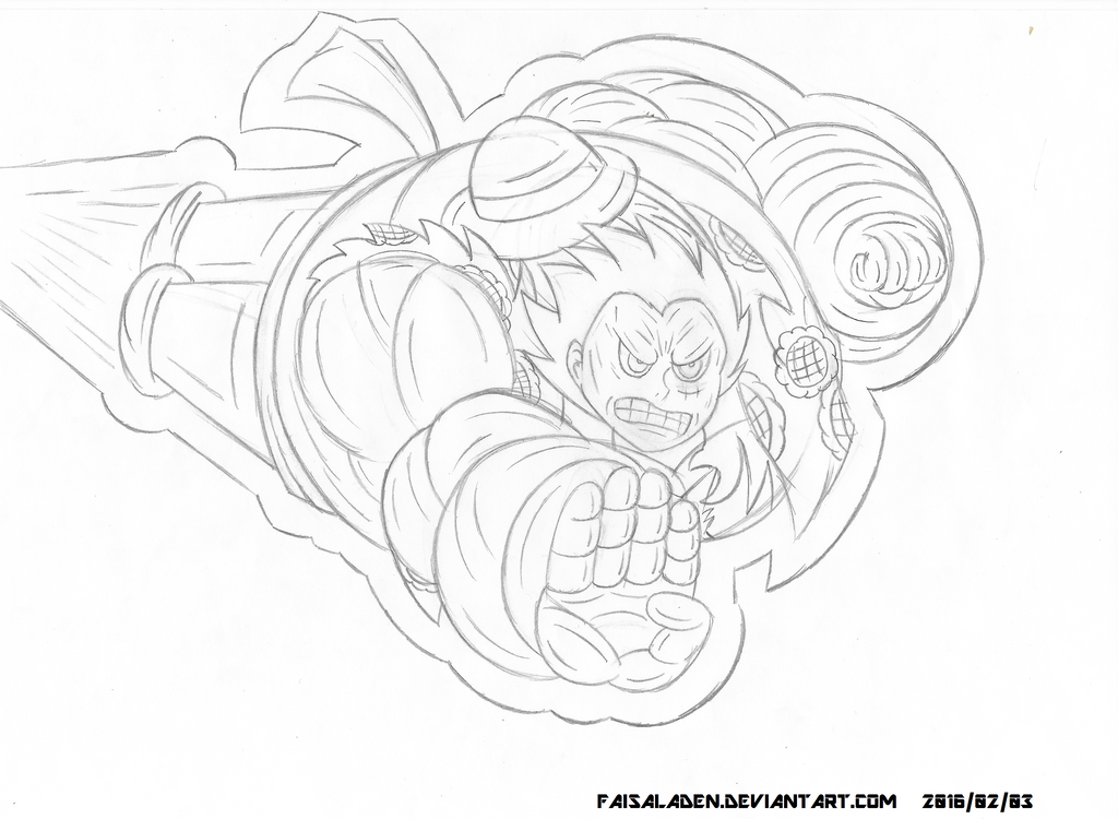 Sketch of Luffy's Gear Fourth Transformation by FaisalAden