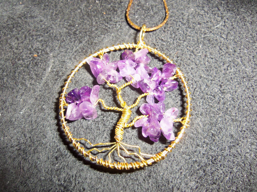 Amethyst gemstone - Tree of Life - Gold Wire by ItsAWrap